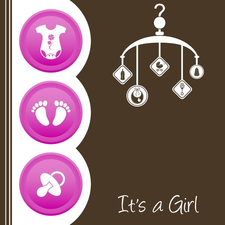 Cute baby girl shower design - pink, white and brown Stock Vector - 22774382
