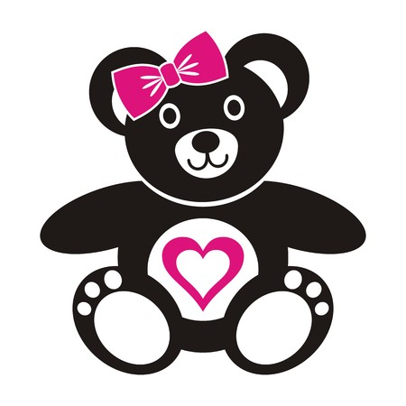 Cute black teddy bear girl icon with heart on a white background