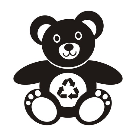 Cute black teddy bear icon with recycling symbol on a white background Stock Vector - 22774384