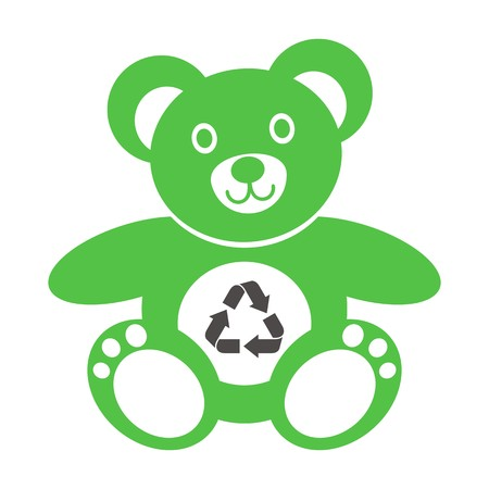Cute green teddy bear icon with recycling symbol on a white background Illustration