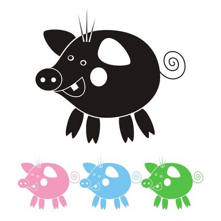 craving: Cerdo feliz poco aislado - ilustraci�n, cuatro colores