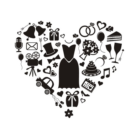 Set of black silhouette wedding icons inside a heart shape Illustration