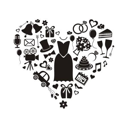 Set of black silhouette wedding icons inside a heart shape Ilustracja
