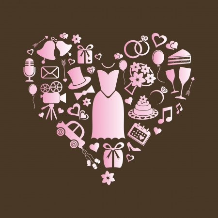 Set of pink silhouette wedding icons inside a heart shape Vector