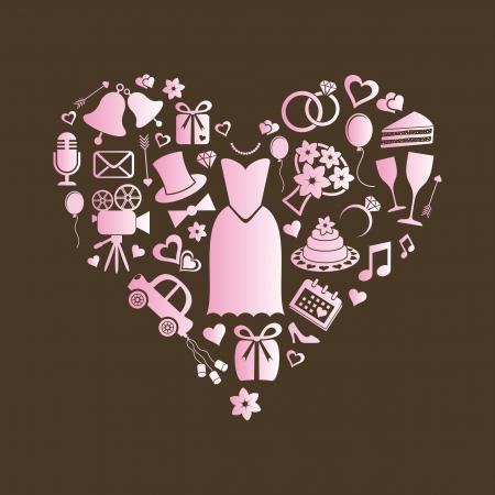 Set of pink silhouette wedding icons inside a heart shape Ilustracja