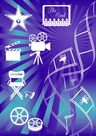 Shiny blue movie background with curl film stripes and movie icons Vector