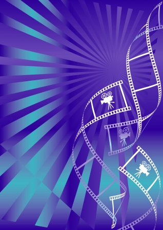 Shiny blue movie background with curl film stripes with movie camera icon Vector