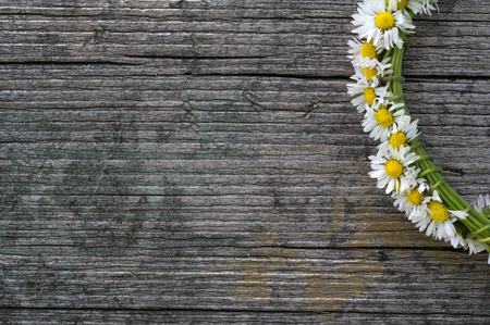 nice daisy chain on old wooden background texture