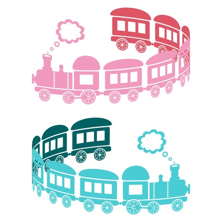 puffing: Couple of pink and blue trains on a white background - curl shaped