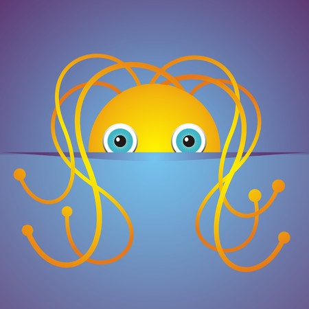 Cute cartoon hidden monster on a blue background. Vector illustration Vector