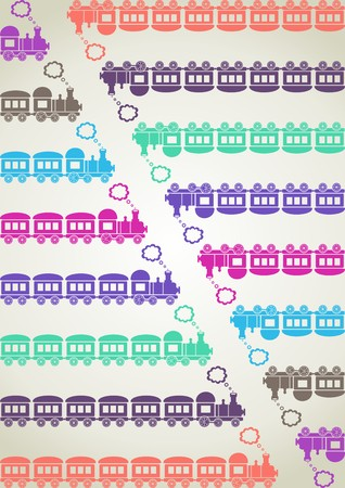 puffing: Cute colored trains with different numbers of carriages