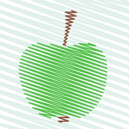 Green abstract striped zig zag apple on a striped background Vector
