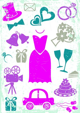 Set of vector colored silhouette icons for wedding cards and invitations Vector