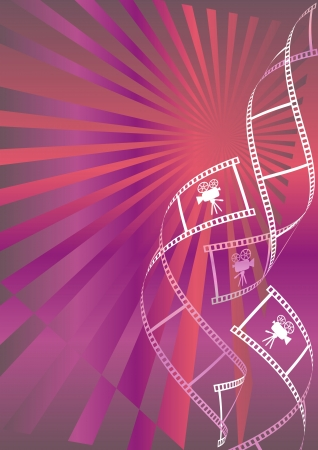 Shiny red and violet movie background with curl film stripes and movie icons Vector