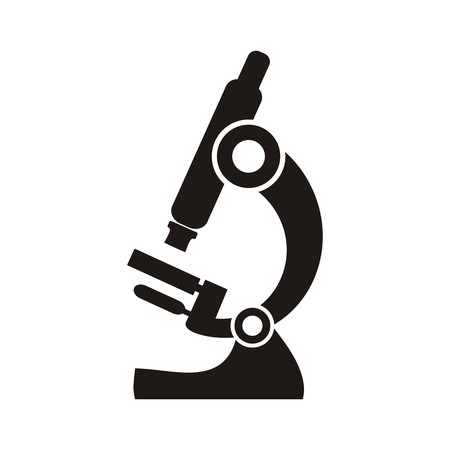 microscope lens: Black microscope icon on a white background - vector illustration
