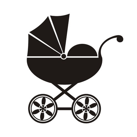 Cute black baby carriage icon on a white background - vector illustration