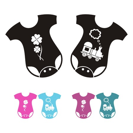 bodysuit: New born baby bodysuit icons - boy and girl variants - black and colored