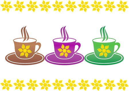 Set of three colored cups of hot drink with suns on a white background Vector