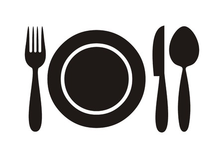 Black restaurant menu icon plate with cutlery isolated