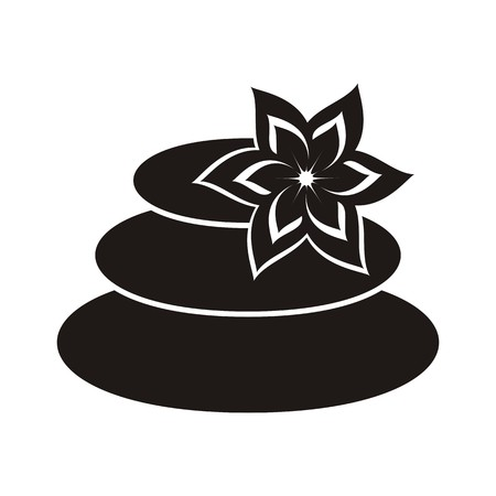 Black spa stones with beautiful flower icon isolated Vector