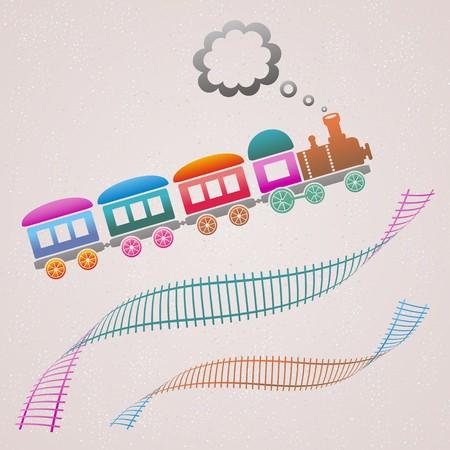 기차와 트랙 귀여운 색깔의 복고풍 카드