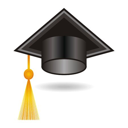 master page: Graduation black cap with tassel on white background