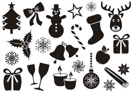 apple cinnamon: Collection of vector christmas and winter silhouette icons