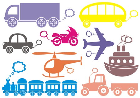 puffing: Colorful means of transport icons isolated on white