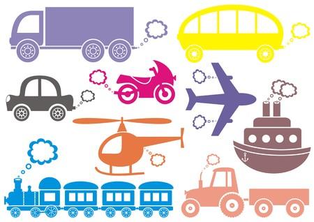 Medio de colores de los iconos de transporte aislados en blanco Ilustración de vector