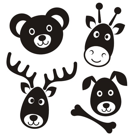 Cute black cartoon reindeer bear giraffe dog faces Vector