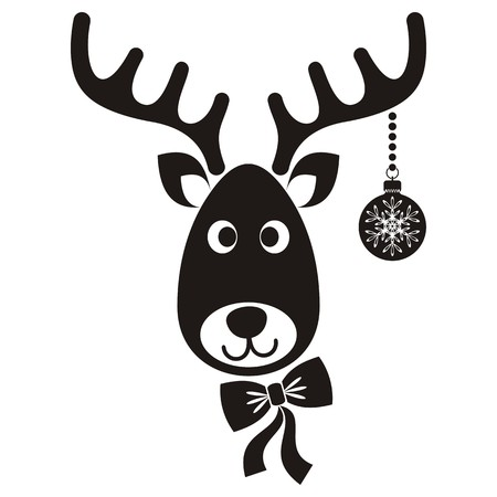 Cute black vector cartoon reindeer face christmas icon Illustration