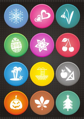 date fruit: set of colorful calendar icons with month symbols
