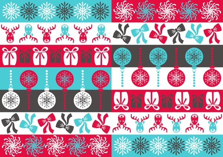 Seamless colored christmas ornamental pattern with christmas symbols Vector