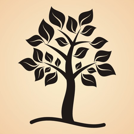 apricot tree: Black tree with leaves on apricot colored background