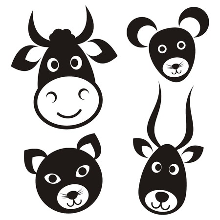 Cute black cartoon cow cat mouse antelope faces Illustration