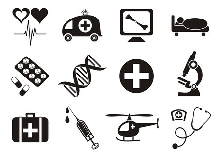 Set of twelve black medical and science icons Vector