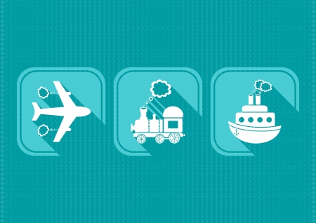 Modern means of transport icons with flat design  Vector