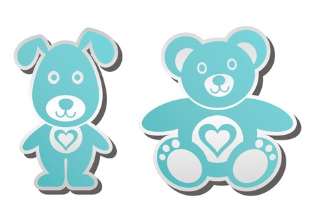 Cute blue teddy bear and dog with heart Illustration
