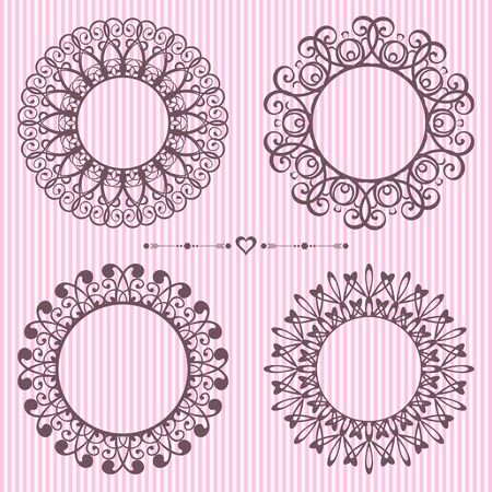 Set of rounded vintage lace frame design elements