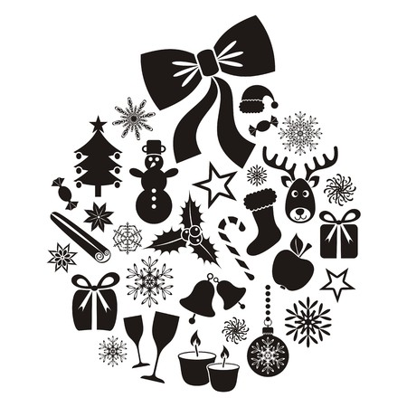 Collection of vector christmas icons inside christmas ball Stock Illustratie