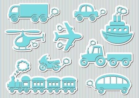 Set of cute blue means of transport icons Vector
