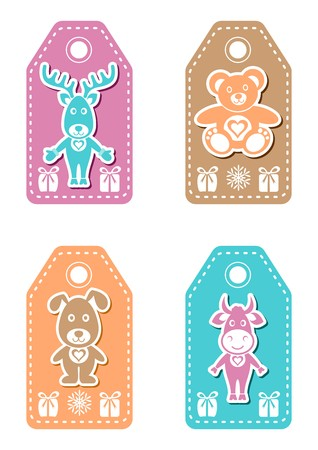 Set of four christmas name tags for children
