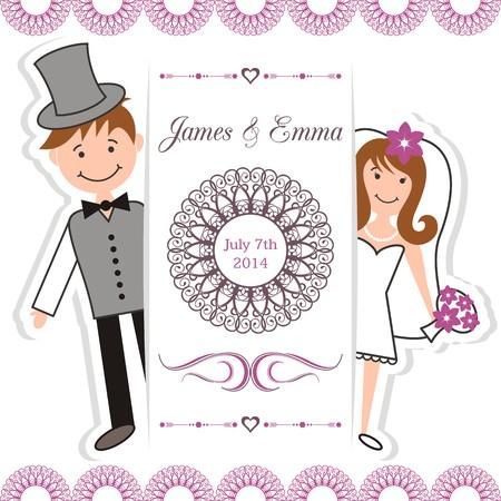 Wedding invitation card with bride and groom Illustration