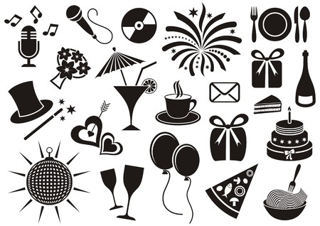 Black party and celebration icon vector silhouette collection