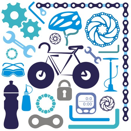 bicycle pump: Colorful collection of bicycle accessories vector silhouette icons