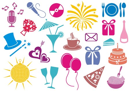 Colorful party and celebration icon vector silhouette collection