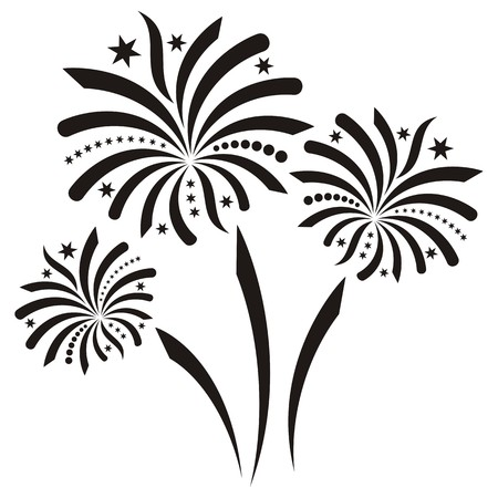 bonfire night: Beautiful black vector firework isolated on white background