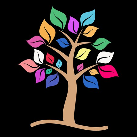 Beautiful colorful tree with leaves on black background Illustration