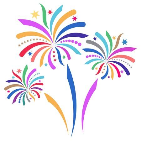 tűzijáték: Gyönyörű színes vektor tűzijáték elszigetelt fehér háttér