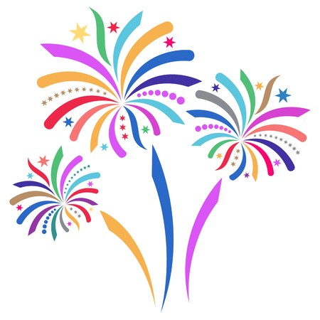 fogatas: Hermoso colorido de fuegos artificiales ilustración aislado sobre fondo blanco